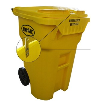 65 Gallon Yellow Emergency Supplies Storage Container on Wheels
